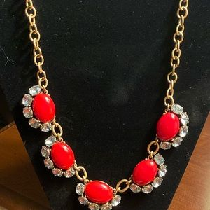 Stella & Dot red bib statement necklace.
